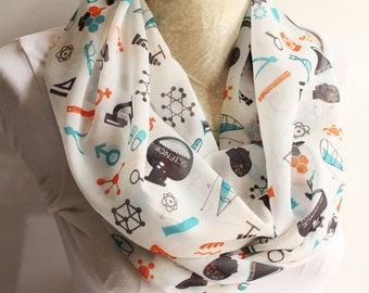Science Scarf Chemistry Molecule Dna Infinity Scarf Science March Biology Physics Women Accessories Molecule Science Teacher Gift for Her
