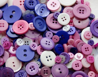 50 Buttons  Pink, Purple, White Assorted sizes, Fairy Princess Mix, Sewing, Crafting  Jewelry (1641