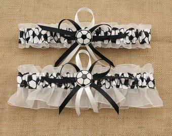 White Wedding Garter Set with Soccer Deco, Bridal Garter, Prom Garter  (Your Choice-Set or Single)