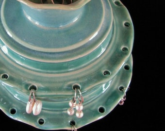 In Stock, Two Tiered Jewelry Holder, Hand Thrown Earring Bowl, Ceramic Jewelry Storage, Jewelry Organizer,Valentines Gift