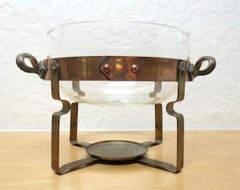 Vintage Nils Johan Sweden Casserole Warmer, Glass, Brass and Copper, Retro Swedish Decor