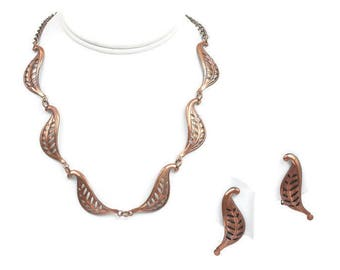 Copper Leaf Motif Necklace Earrings Set Vintage 1950s Mid Century