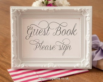 Wedding Guest Book Sign - Wedding Black and White Sign - Gift Table Signage - Wedding Reception Table Sign  (Without Frame) WED020