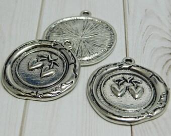 2 or 4pcs - 33x29mm - Heart Pendant - Wax Seal Pendant - Antique Silver Pendant - Metal Pendant - Heart Charm - (B709)
