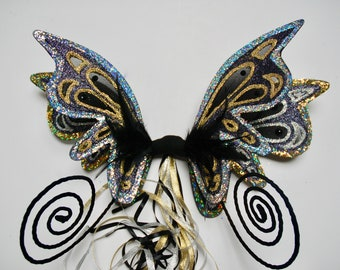 Magical black, gold and silver holographic fairy wings with curly antennae - Fairylove