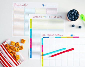 Meal Planning Printable Bundle - INSTANT DOWNLOAD - Set of 5 PDF's!