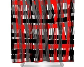 Plaid Shower CurtainRed White Black Gray PlaidBathroom CurtainBathroom DecorAccessoriesPlaid Home DecorDesigner Red Curtain