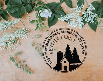 Family Address Stamp, Custom Return Address Self Inking Stamp, Rustic House Stamp, Holiday Gift Ideas - CA748