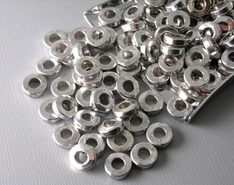 SPACER-AS-6MM - 20 pcs Antique Silver Plated 6mm Donut Spacers