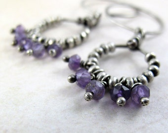 Silver Beaded Ring Earrings with Amethyst