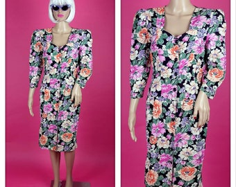 Vintage 1980s Pink and Colorful Floral Party Button Up Long Sleeve Dress