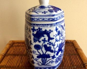 RESERVED FOR ELLIOTT..Porcelain, Hexagon Jar, Blue & White, Koi Fish, Ginger Jar, Tea Jar, Chinoiserie, Coastal, Hollywood Regency