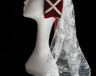 New red velvet Renaissance Medieval Tudor women's hat cap costume