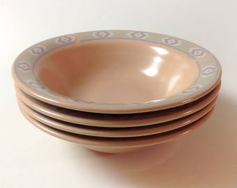 4 Vintage Treasure Craft Southwest Cereal, Soup Bowls, Peach, Green, Blue, 1980s Southwestern Bowls, Set Of 4