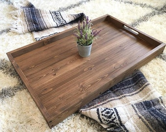 Rustic Wooden Ottoman Tray, Coffee Table Tray, Serving Tray, Wooden Tray,  Rustic