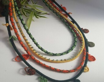Orange, green and yellow necklace, Colorful layered necklace, Tribal rope necklace, Green and Orange necklace,Oversize necklace