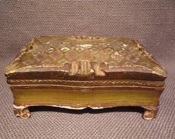 Vintage Italian Florentine Jewelry Box    Gold Green Blue