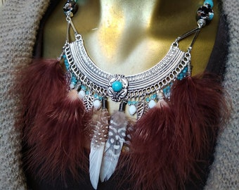 Necklace feathers ethnic Indian Lampwork, agate, glass beads and antique Brown and white, blue