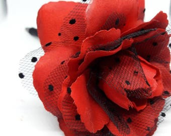 Red and Black Poke a Dot Lace Rose handmade Flower pen - Wedding Guest book Pen - Party Favor - Gift - wedding pen