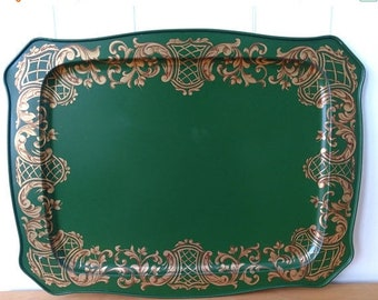 MEMORIAL DAY SALE xl vintage green and gold scroll tray