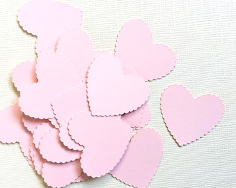 Valentine's Day Decor, 100 Pink Scalloped Heart Confetti,  Party Decor, Weddings, Showers, Baby, Die Cuts
