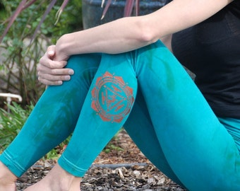 Tall Green Hand Dyed Yoga Leggings with Optional Hand Painted Chakra Design including Extra Long and Plus Sizes by Splash Dye Activewear