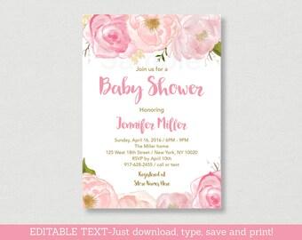 Soft Pink Floral Baby Shower Invitation / Floral Baby Shower Invite / Watercolor Floral Invite / Editable PDF INSTANT DOWNLOAD A170