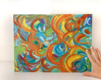 Dance of colors abstract painting acylic on canvas board