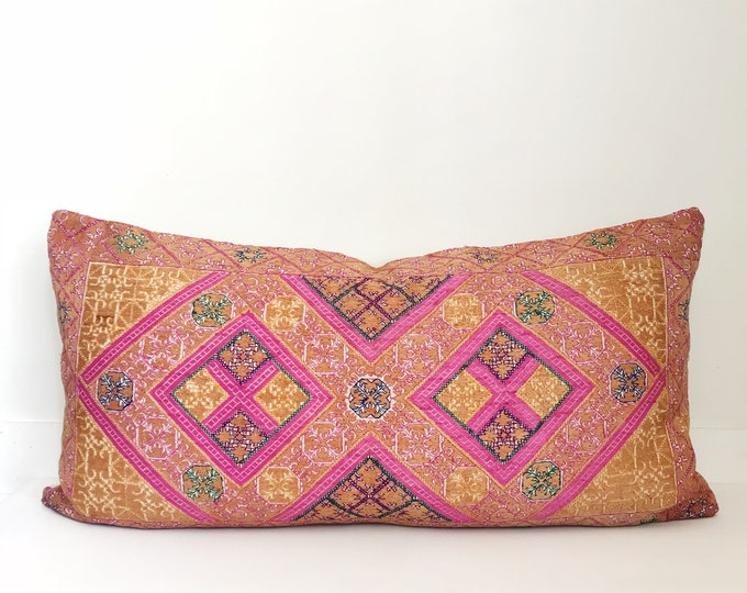 Vintage Boho Pillow Cover, Handmade, One-of-a-kind