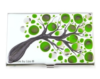 Hand Painted Card Case Lime Green and Grey Blossom Inspired Metal Wallet Options to Personalize and Engrave are Available