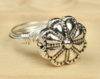 Modern Flower Ring- Sterling Silver Filled Wire Wrapped Ring with Floral Metal Bead - Any Size - Size 4, 5, 6, 7, 8, 9, 10, 11, 12, 13, 14