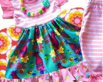 Trolls dress Rainbows cupcakes Momi boutique custom dress