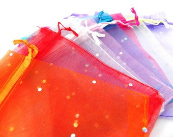 TOP SELLER - Bulk Pack Small Organza Bags with Drawstrings 10x 12 cm with metallic stickers - Mixed Colours