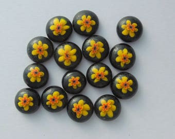 Fused Glass Millefiori Mini Cabs - Cabochons - Lampwork Beads - Fused Glass - Flower Beads - Glass Bead - Findings 5611