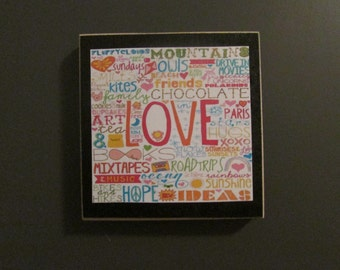 Love subway art  wood magnet