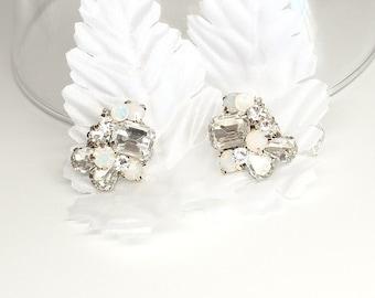 Rhinestone Bridal Earrings- White Opal Earrings- Bridal Cluster Earrings- White Opal Bridal Earrings- Vintage Inspired Studs-Bridal Earrings