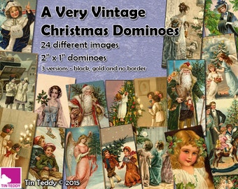 "A Very Vintage Christmas Dominoes - 2"" x 1"" domino size tags  x 24 -  Instant Download Ideal for ATCs etc Christmas Collage Sheet Graphic"