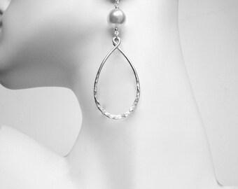 Silver Hoop Earring Large Pearl Earring Sterling Silver Earrings Swarovski Pearl Earrings Dangle Hoop Earrings Hammered Hoop Earrings