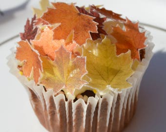 Edible Maple Autumn Fall Leaves Wafer Rice Paper Autumn Fall Wedding Decorations Rustic Orange Cake Pop Leaf Cookie Cupcake Topper Amber
