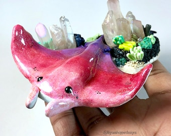 Manta Ray Polymer Clay and Crystal Figurine
