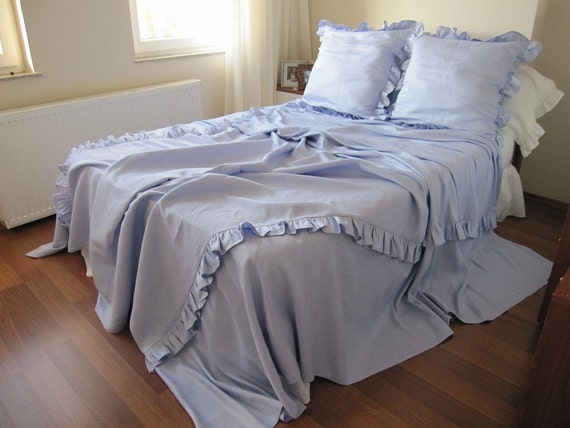 Ivory Shabby Chic Bedding: Items Similar To KING-QUEEN Linen Ruffled Bedding