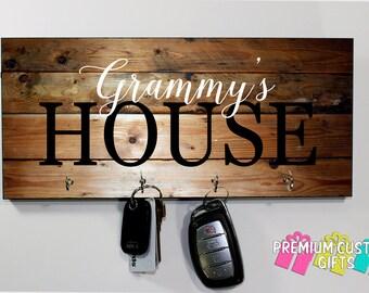 Grammy's house Key hanger - Grammy gift - Anniversary Gift - Housewarming Gift - Wooden Key Hanger - Wall Key Rack Design #KH228