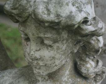Cemetary art angel cemetery photogarph gray and white face, wall decor decorative art