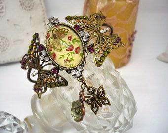 Bronze Butterfly metal Cuff Bracelet