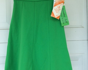 Vintage 60s 70s Alex Coleman Green Skirt WITH TAGS