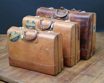 Set of 3 nesting leather suitcases RV2283-84-85