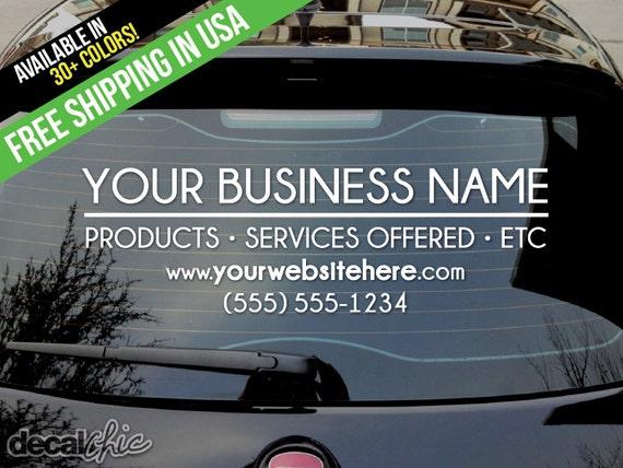 Custom business car decal your business name services