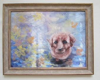 Original oil dog painting, pet painting, puppy painting, oil on canvas puppy painting