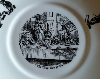 Beautiful Vintage Alice in Wonderland Plate - A Genuine Alice Shop Product - 1970's Oxford Product England Plate Porcelain The Mad Tea Party
