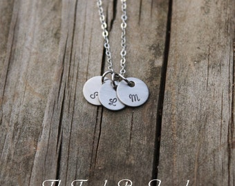 Stainless monogram charm necklace letter charm necklace initial charm necklace bridesmaid gift christmas gift